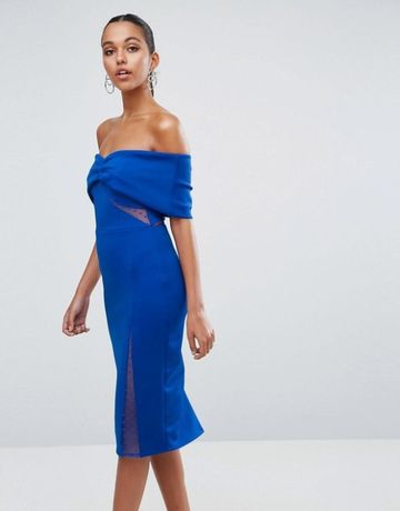 ASOS kobaltowa sukienka midi hiszpanka XS 34 na wesele randka impreza