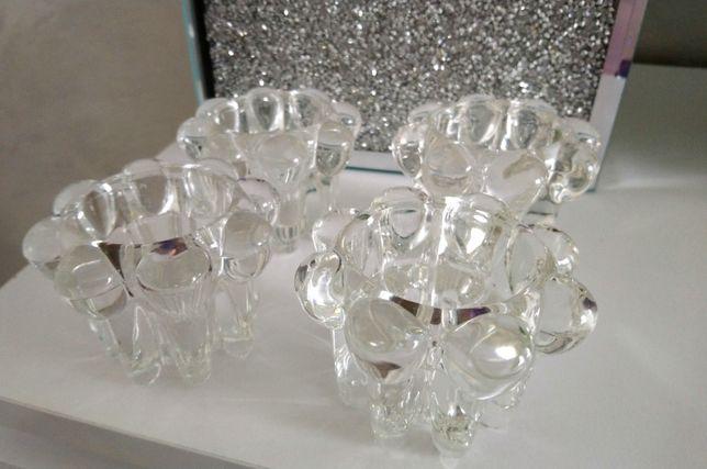 Kryształowe Szkło Artystyczne z UK zestaw świeczników 4sztuki home&you