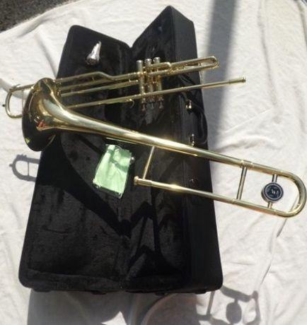 Trombone de pistões dourado em Bb