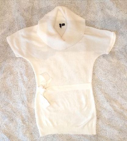 Tunika H&M 34 XS biała sweter swetr biały