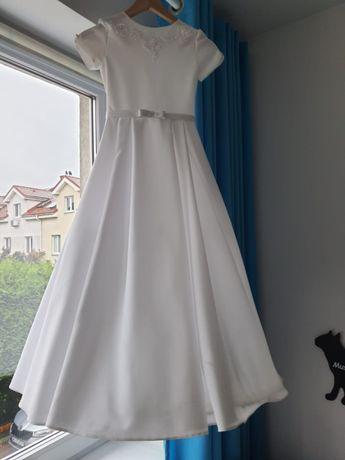 Sukienka komunijna śliczna rozmiar 134 cm +halka +koło +bolerko +butki