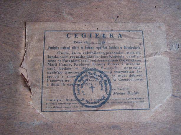 Parzniewice cegiełka na budowę kościoła 1937 rok Obraz zamykana rama