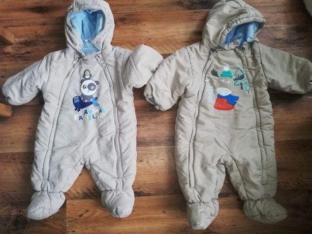 Kombinezony zimowe dla chłopca i dziewczynki.
