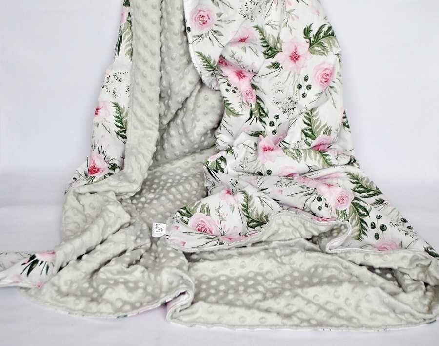 Koc MINKY BAWEŁNA narzuta pled na łóżko 160x200 liście kwiaty łapacze
