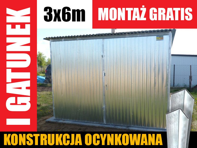 Garaż blaszany 3x6 ocynk blaszak wzmocniony tanio producent gwarancja