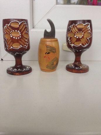 Открывашка для бутылок и рюмки , солянка деревянные, декоративные