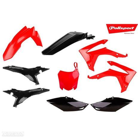 kit plasticos polisport vermelho / preto honda crf 450/250