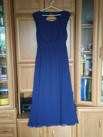 Długa, granatowa, plisowana sukienka XL (42)