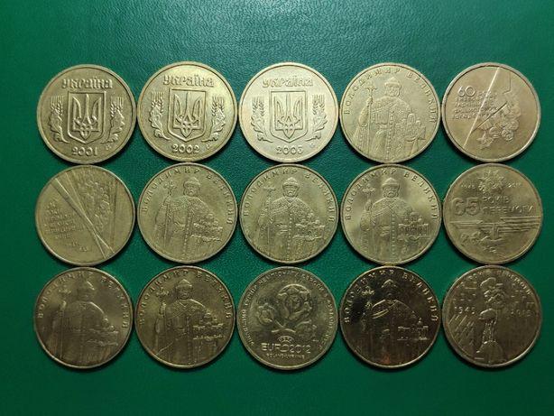 """Монеты Украины , 1 гривна из обихода , 2001-2014г , плюс """"юбилейка"""" ."""