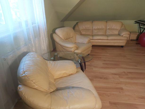 Wypoczynek skórzany sofa i dwa fotele