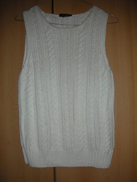 biała kamizelka wzór warkocz