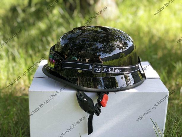 Мотошлем немецкая каска, Der Herr Major+очки, глянец открытый, S-M (55