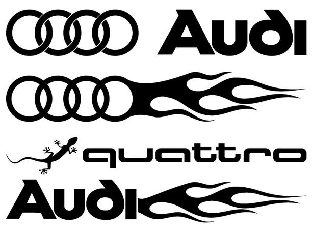naklejki AUDI TT quattro na samochód - komplet 2 sztuki 48 cm tuning