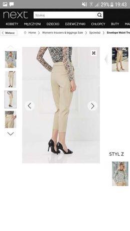 Eleganckie spodnie wysoka talia beżowe Next 36