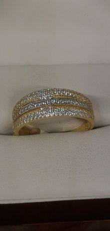 złoty pierścionek błyszczący poranek dla CIEBIE próba 585
