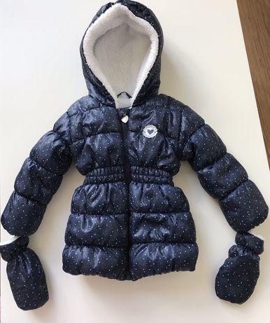 Granatowa kurtka zimowa w białe kropki. Roz 74