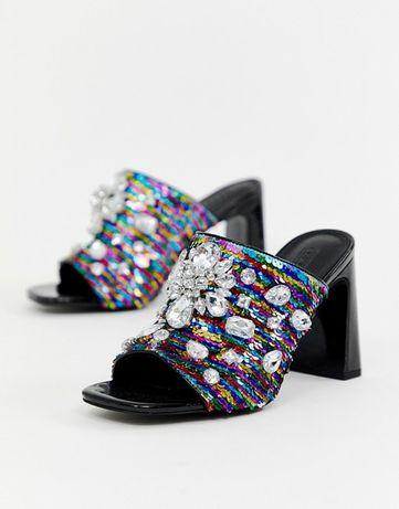 Сабо мюли босоножки шлепанцы Asos квадратый носок каблук