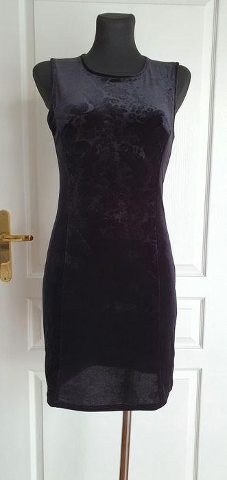 Sukienka dopasowana ołówkowa mała czarna welur xs/s Lędziny - image 1