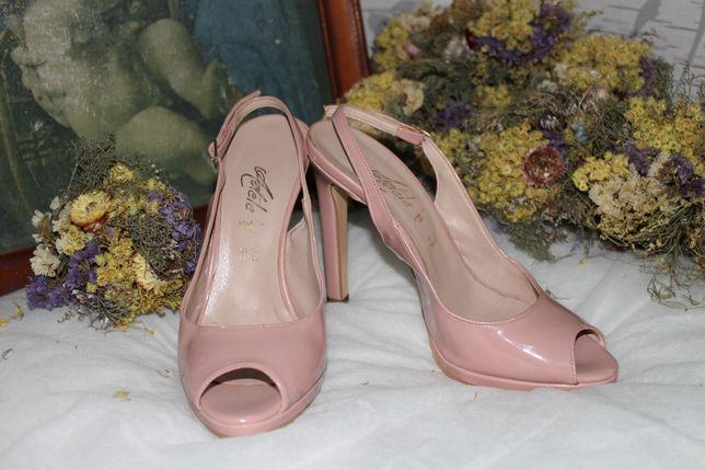Кожаные нюдовые босоножки (розовые). Туфли, Ботинки, Сапоги