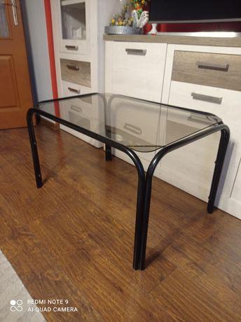 Stolik szklany z metalowymi nogami lata 80