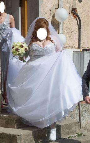 Suknia ślubna Princessa Plus Size, rozmiar 46-48-50 + welon i bolerko