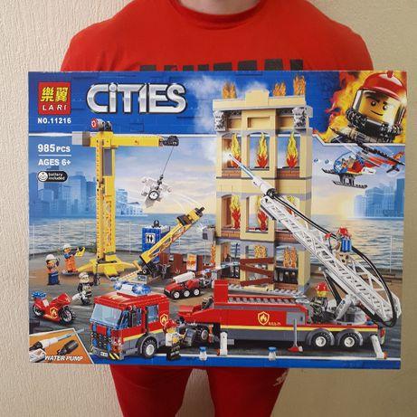 Лего Пожарная станция Конструктор Сити Пожарная 985 деталей Lari 11216