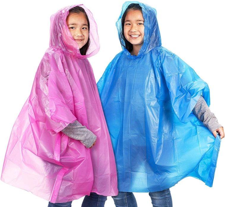 Ponchos descartáveis chuva criança com capuz - azul/rosa Impermeável