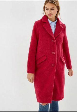 Пальто осеннее драповое малиновое брендовое