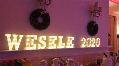 Napis led świetlny WESELE 2020 wynajem wesele
