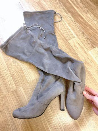 Ботфорды сапоги ботинки серые ботильены Stuart Weitzman