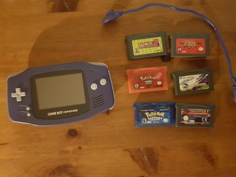 Gameboy Advance + 6 gier retro okazja Pokemon Fire Red Saphire Zelda