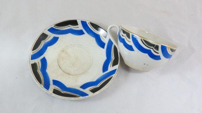 Chávena +Pires Sacavém Gilman Art Deco; Marcada como é mostrado;