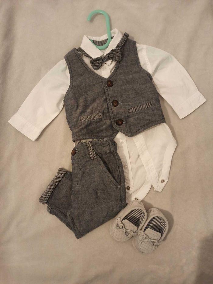 Zestaw do chrztu dla chłopca - Spodnie, koszula, buty rozmiar 62 Białystok - image 1