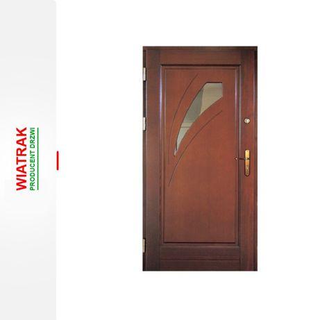 Drzwi zewnętrzne drewniane ocieplane od ręki 78mm Dąb