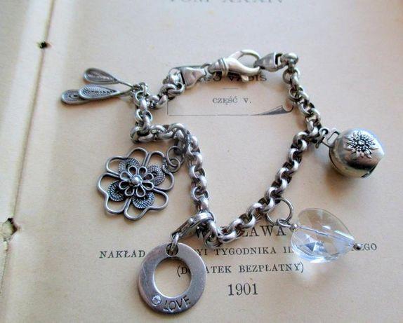 Srebrna bransoletka z zawieszkami, dzwonek, serce kryształ górski