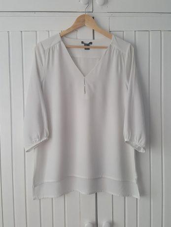 Asymetryczna Biała Bluzka Mgiełka Dekolt Szpic, H&M