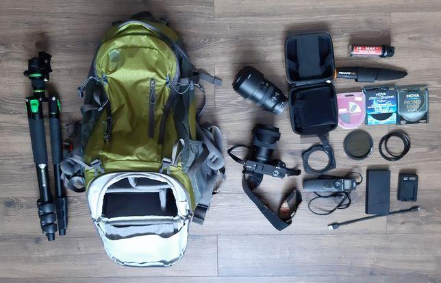 Sony A6400, Sigma 16mm, Sony 70-350 + zestaw akcesoriów
