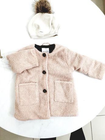 Płaszczyk kurtka i beret czapka newbie  dziewczynka rozm 80