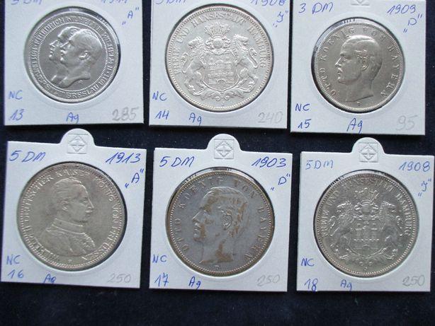 Zestaw srebrnych monet .Oryginały !!! 63