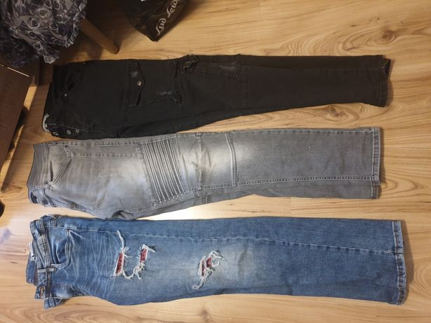 Spodnie jeansowe 164 slim fit 170 zara Reserved fishbone