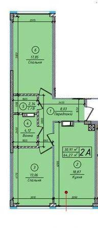 2 комнатная квартира 64,27м2 в ЖК Петровский квартал, ПК-5, 2 линия