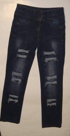 Крутые рваные синие джинсы штаны на бедра 84-90 см