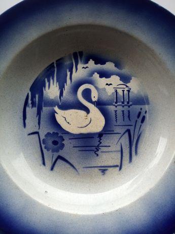 Lindo antigo prato com cisne em faiança Lusitânia 37,5 cm