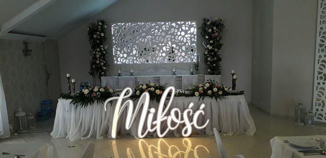 Napis led na ślub wesele miłość