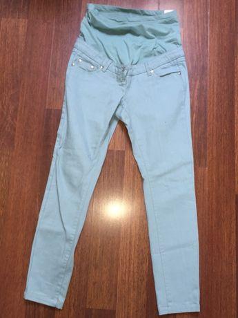 Bonprix pistacjowe jeansy ciążowe rurki 36
