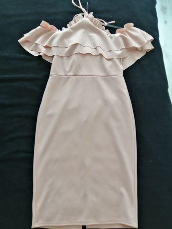 Pudrowa sukienka  midi, Asos Nowa XL, Hiszpanka, falbana, wesele, 18