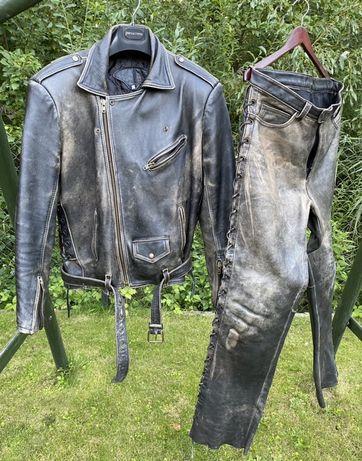 Tarbor kurtka i spodnie motocyklowe skórzane, brąz