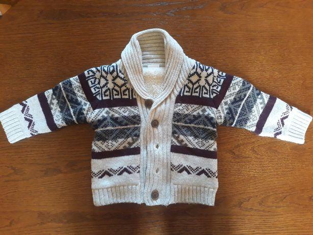 Ciepłe, rozpinane sweterki chłopięce rozmiar 86cm