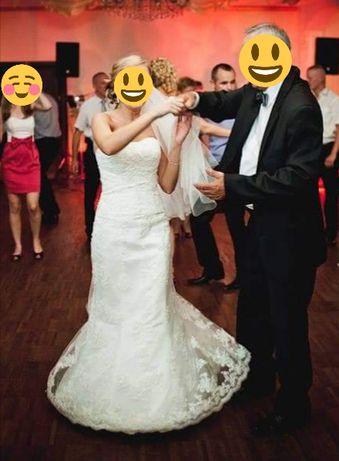 Suknia ślubna syrenka z trenem.
