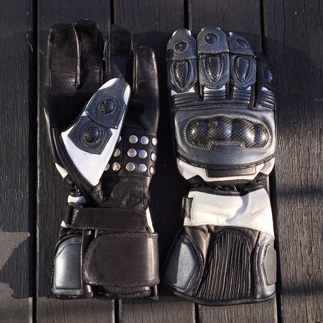 rękawice motocyklowe na motor ochraniacze czarno-białe
